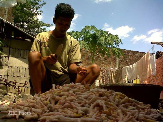 Suhardi tengah menguliti ceker ayam untuk dijadikan kripik ceker. Pada bulan puasa Ramdhan dan menjelang Lebaran pesanan kripik ceker biasanya meningkat. (JIBI/SOLOPOS/Farid Syafrodhi)