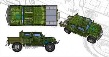 Desain teknis Komodo. Sepintas bentuknya mirip Humvee, kendaraan  taktis serba guna andalan tentara AS. (www.pindad.com)