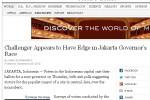 Tulisan lain di New York Times mengenai fenomena keunggulan Jokowi dalam Pilgub Jakarta. (nytimes.com)