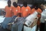 Empat pelaku terkait kasus tewasnya Harju Pambudi diamankan jajaran Polres Sleman, Kamis (13/12/2012). (JIBI/Harian Jogja/Ujang Hasanudin)