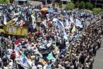 DEMO BURUH : KSPI Longmarch di Semarang sebelum Demo Sejuta Buruh 2 Desember