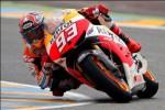 Pembalap Repsol Honda, Marc Marquez, saat melakoni balapan MotoGP Prancis di Sirkuit Le Mans, Minggu (19/5/2013) malam WIB. Marquez tampil fantastis dengan merebut podium ketiga. JIBI/SOLOPOS/Reuters
