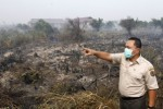 Menteri Kehutanan Zulkifli Hasan meninjau salah satu lokasi kebakaran lahan perkebunan nanas dan kelapa sawit milik warga di Kabupaten Rokan Hilir, Riau, Sabtu (22/6/2013). Kesibukan aparatur pemerintah semacam itu bukan karena keluhan warga melainkan protes negara tetangga.