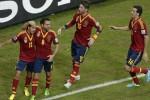 Para pemain Spanyol melakukan selebrasi seusai mencetak gol. dokJIBI/SOLOPOS/Reuters
