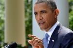 Presiden Amerika Serikat Barack Obama memberikan keterangan pers tentang sikapnya atas situasi Suriah di Gedung Putih, Washington DC, Amerika Serikat,