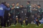 Pemain muda Sassuolo Domenico Berardi (25) saat membuat gol keempat. JIBI/Rtr/Alessandro Garofalo
