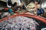 Pedagang ikan melayani pembeli di Pasar Gede Solo, Jumat (24/1). Menurut pedagang harga ikan laut naik akibat cuaca buruk dan pasokan minim. (Burhan AN/JIBI/Solopos)