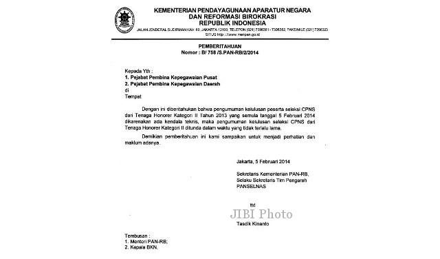 Surat Kementerian PAN dan RB tentang penundaan pengumuman hasil seleksi CPNS K2.