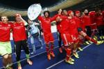 Pemain Bayern Munich merayakan kemenangan sebagai Juara Bundesliga Jerman Musim ini. Penampilan mereka masih tetap ditunggu. (JIBI/Solopos/Reuters/Kai Pfaffenbach)
