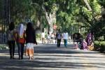 Pengunjung melintas di jalur city walk yang sepi pedagang kaki lima (PKL) saat diselenggarakan Car Free Day (CFD) di Jl Slamet Riyadi, Solo, Jawa Tengah, Minggu (29/6/2014). Ratusan PKL di CFD diminta tidak berjualan selama Ramadan 2014 untuk menghormati umat Islam yang sedang menunaikan ibadah puasa. (Septian Ade Mahendra/JIBI/Solopos)