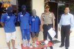 Tiga tersangka kasus sabu-sabu yang berhasil ditangkap jajaran Polres Boyolali, kini ditahan di mapolres setempat untuk proses hukum lebih lanjut, Kamis (12/6/2014). (Septhia Ryanthie/JIBI/Solopos)