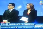 Dua presenter, Alvito Deannova dari TV One dan Aviani Malik dari Metro TV bersama membawakan dialog capres-cawapres dengan pengurus Kadin di Jakarta, Jumat (20/6/2014). (JIBI/Solopos/Adib Muttaqin Asfar/Courtesy Metro TV)