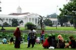 Wisatawan menikmati suasana alam dengan latar belakang Istana Kepresidenan Bogor di kawasan Pusat Konservasi Tumbuhan Kebun Raya Bogor (KRB) di Kota Bogor, Jawa Barat, Rabu (30/7/2014). Memasuki H+2 Lebaran 2014, kawasan wisata alam KRB dikunjungi sedikitnya 25.000 pengunjung dari dalam negeri dan mancanegara. (JIBI/Solopos/Antara/Jafkhairi)