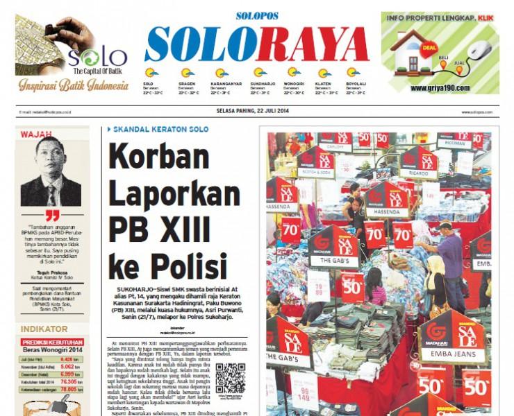 Halaman Soloraya Harian Umum Solopos Edisi Selasa 22 Juli 2014
