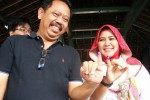 Wakil Walikota Jogja, Imam Priyono bersama istri seusai mencoblos, Rabu (9/7/2014). (Harian Jogja/Rina Wijayanti)