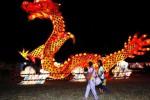Warga menikmati pemandangan lampion naga saat diselenggarakan Festival Lentera Suzhou di Alun-Alun Utara Solo, Jumat (29/8/2014) malam. Festival yang digelar hingga Minggu (21/9/2014) bulan depan tersebut menampilkan sembilan lampion setinggi 12 meter yang antara lain menggambarkan naga, Taj Mahal, dan kapal yang digunakan laksamana Cheng Ho. (Ardiansyah Indra Kumala/JIBI/Solopos)