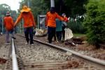 Pegawai PT Kereta Api Indonesia menambahkan batu kerikil pada permukaan tanah di bawah rel guna menguatkan rel kereta di dekat pintu perlintasan kawasan Halimun, Jakarta, Jumat (22/8/2014). Perawatan rutin tersebut dilakukan untuk mengantisipasi terjadinya kecelakaan kereta api serta memberikan kenyamanan serta kelancaran terhadap moda transportasi kereta api. (Rachman/JIBI/Bisnis)