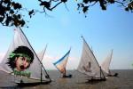 Sejumlah nelayan mengikuti lomba perahu layar yang digelar di perairan tak jauh dari objek wisata Pantai Ria, Kenjeran, Surabaya, Jawa Timur, Sabtu (23/8/2014). Selain sebagai sebuah tradisi yang dilakukan nelayan untuk mengisi waktu luang sebelum pergi melaut, lomba perahu layar yang diikuti oleh 36 perahu nelayan itu juga bertujuan untuk menarik minat wisatawan untuk mengunjungi kawasan Pantai Kenjeran. (JIBI/Solopos/Antara/Suryanto)