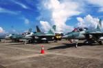 Tiga pesawat tempur terbaru TNI AU jenis T-50i Golden Eagle bersiaga di Lanuda Jayapura, Papua, Senin (25/8/2014). Pesawat tempur tersebut akan mengikuti latihan D-14 guna mengawal keamanan Dirgantara Indonesia khususnya di Papua oleh Komando Sektor Pertahanan Nasional IV. (JIBI/Solopos/Antara/Ismawan Nugraha)