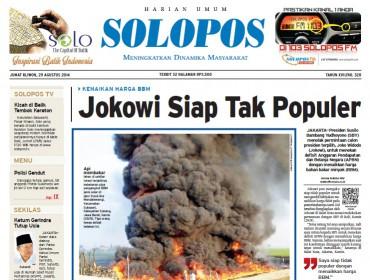 Halaman Depan Harian Umum Solopos edisi Jumat, 29 Agustus 2014