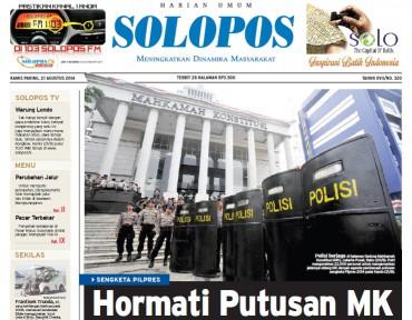 Halaman Depan Harian Umum Solopos edisi Kamis, 21 Agustus 2014