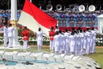 Tim Melati Paskibraka 2014 bertugas mengibarkan bendera Merah-Putih pada Upacara Peringatan Detik-Detik Proklamasi Kemerdekaan Indonesia ke-69 Tahun 2014 di Istana Merdeka, Jakarta, Minggu (17/8/2014). (Yayus Yuswoprihanto/JIBI/JIBI)