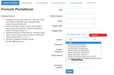 Penampakan Formulir Pendaftaran (panselnas.menpan.go.id)