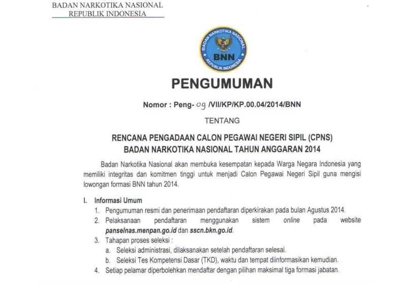 Pengumuman CPNS BNN 2014 (bnn.go.id)