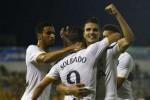 Lamela, Soldado dan kawan-kawan merayakan gol kemenangan Tottenham Hotspurs. Ist/detiksport