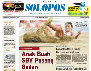 Halaman Depan Harian Umum Solopos edisi Selasa, 30 September 2014