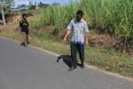 Warga Gemantar, Jumantono, Sugiyo menunjukkan lokasi penemuan korban pembunuhan, Tutik, 16, di desa setempat, Rabu (17/9/2014) siang. Lokasi tersebut dikenal sangat sepi saat malam hari lantaran jauh dari permukiman warga. (Ponco Suseno/JIBI/Solopos)