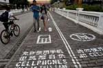 Trotoar khusus pengguna smartphone di Tiongkok(Scoopnest.com)