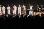 Penampilan grup musik humor Pecas Ndahe tampil berakapela saat membawakan lagu Assalamualaikum di Pendapa Taman Budaya Surakarta (TBS), Solo, Jawa Tengah, Rabu (15/10/2014) malam. Konser yang bertajuk Tak Ada Pantat yang Tak Retak merupakan pentas untuk memperingati hari ulang tahun (HUT) ke-21 Pecas Ndahe. (Septian Ade Mahendra/JIBI/Solopos)
