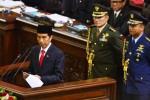 Presiden Ke-7 Indonesia Joko Widodo menyampaikan pidato awal masa jabatan dalam Rapat Paripurna MPR dengan agenda tunggal Pelantikan Presiden di Gedung Nusantara, Kompleks Perkantoran MPR-DPR-DPD di kawasan Senayan, Jakarta, Senin (20/10/2014). Joko Widodo-Jusuf Kalla (Jokowi-JK) resmi menjabat sebagai presiden dan wakil presiden masa bakti 2014-2019 setelah keduanya bergantian mengucapkan sumpah jabatan dan pelantikan di hadapan anggota MPR menggantikan Presiden Susilo Bambang Yudhoyono dan Wapres Boediono. (Nurul Hidayat/JIBI/Bisnis)