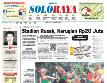 Halaman Soloraya Harian Umum Solopos edisi Jumat, 24 Oktober 2014