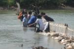 Pegawai PDAM Giri Tirta Sari, Wonogiri, Kamis (9/10/2014), bergotong-royong membuat bendung di Sungai Bengawan Solo. Langkah itu mereka lakukan dengan harapan air dapat mengalir lebih deras ke bak penampungan untuk diolah menjadi air bersih. (Trianto Hery Suryono/JIBI/Solopos)