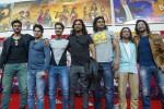 Para aktor India pemeran serial televisi Mahabharata, (kiri-kanan) Aham Sharma (Karna), Lavanya BharAdwaj (Sadewa), Vin Rana (Nakula), Arpit Ranka (Duryodana), Saurav Gurjar (Bima), Rohit Bharadwaj (Yudistira), dan Shaheer Sheikh (Arjuna), berfoto bersama seusai jumpa pers di Jakarta, Selasa (30/9/2014). Sejumlah kegiatan akan digelar di Jakarta dan Bali selama para pemeran serial televisi Mahabharata mengunjungi Indonesia, diantaranya yakni tampil dalam pementasan Mahabharata Show ANTV pada 3 Oktober 2014. (JIBI/Solopos/Antara/Ismar Patrizki)