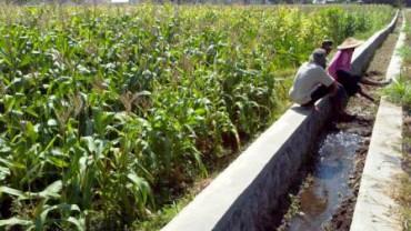 Para petani duduk di pinggir saluran irigasi di Desa Nepen, Kecamatan Teras, Boyolali, Sabtu (11/10/2014). (Irawan Sapto Adhi/JIBI/Solopos)