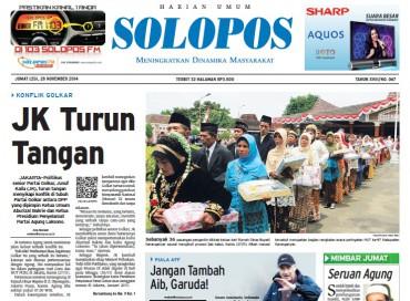 Halaman Depan Harian Umum Solopos edisi Jumat, 28 November 2014