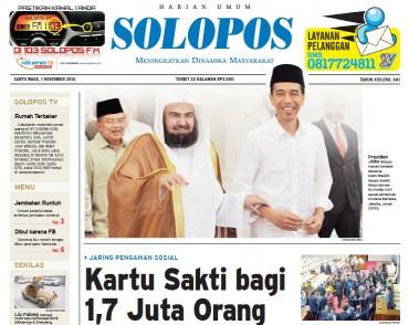 Halaman Depan Harian Umum Solopos edisi Sabtu, 1 November 2014