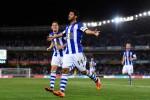 Penyerang Real Sociedad Carlos Vera melakukan selebrasi seusai menciptakan gol. Ist/Dokumentasi