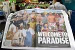 Gambar cover The Courier Mail yang menampilkan pemimpin negara anggota G-20, termasuk Presiden Jokowi. (Istimewa/Daily Mail)
