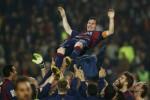 Pemain Barcelona Lionel Messi merayakan kemenangan seusai kalahkan Sevilla. JIBI/Rtr/Albert Gea
