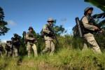 Pasukan Brimob bersenjata lengkap mencari terduga kelompok sipil bersenjata di sekitar Gunung Patingkea, Desa Tamadue, Kecamatan Lore Timur, Kabupaten Poso, Sulawesi Tengah, Senin (29/12/2014). Penyisiran dilakukan untuk mencari persembunyian kelompok Santoso cs yang sebelumnya telah menembak mati seorang warga sipil. (JIBI/Solopos/Antara/Zainuddin M.N.)