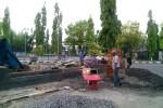 Taman di kawasan Alun-alun Wates masih dalam pengerjaan, Jumat (5/12/2014). (Holy Kartika N.S/JIBI/Harian Jogja)