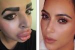 Jordan (kiri) melakukan operasi plastik demi mirip Kim Kardhasian (kiri) (Daily Mail)