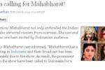 Pemberitaan kepopuleran Mahabharata di situs India (Times of India)
