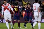 Para pemain Barcelona merayakan gol kemenangan saat berlaga melawan Huesca. Ist/detiksport