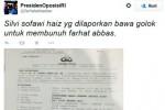 Unggahan laporan Farhat Abas di Twitter (Twitter)