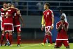Pemain Equatorial Guinea merayakan kemenangan seusai mengalahkan Gabon. JIBI/Rtr/Amr Abdallah Dalsh